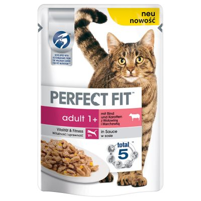 Perfect Fit Adult 1+ Pouches – Beef & Carrots in Sauce