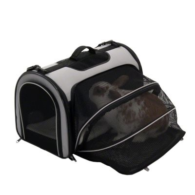 Pet Carrier Freedom with Side Extension - Black  & Grey