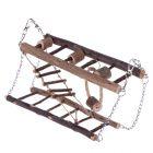 Pont suspendu en bois naturel pour rongeur