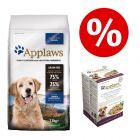 Preț special! 7,5 kg hrană uscată câini + 10 x 100 g plicuri Applaws