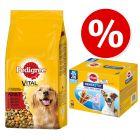 Preț special! 15 kg Pedigree hrană uscată + Multipachet Denstatix snackuri!