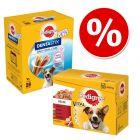Preț special! 96 x 100 g Pedigree Multipack hrană umedă + 28 buc. Dentastix