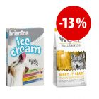 Prezzo speciale! 8 x 20 g Briantos Ice Cream + 12 kg Wolf of Wilderness Sunny Glade