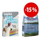 Prezzo speciale! 8 x 20g Briantos Ice Cream + 4kg Purizon Puppy Pollo & Pesce