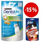 Prezzo speciale! 8 x 40g Purina Dentalife + 3 x 60g Felix Party Mixed Grill