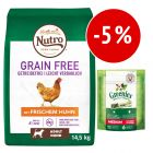 Prezzo speciale! Nutro Grain Free + 6 Greenies Snack Igiene Dentale Medium