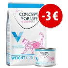 Prezzo speciale! 3 kg + 6 x 200 g Concept for Life Veterinary Diet Weight Control