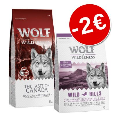 Prezzo speciale! 2 x 1 kg Wolf of Wilderness misto
