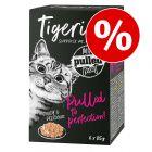 Prix avantageux ! 6 x 85 g Tigeria Pulled Meat pour chat 510 g