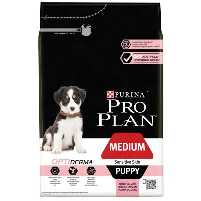 Pro Plan Medium Puppy Sensitive OptiDerma Salmone & Riso