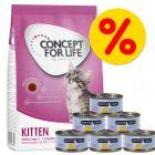 Probeerpakket: Concept for Life Kitten 400g + 6 x 70g Cosma Nature natvoer