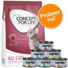 Probeerpakket: 400 g Concept for Life + 6 x 70 g Cosma Nature Kattenvoer