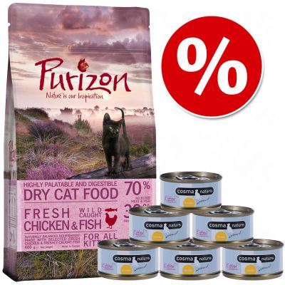Probeerset Kitten: Purizon 400 g  & Cosma Nature 6 x 70 g