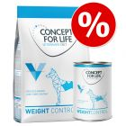 Probierpaket: 1 kg Trocken- & 6 x 400 g Nassnahrung Concept for Life Veterinary Diet Weight Control