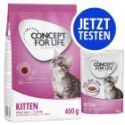 Probierpaket 400 g Concept for Life Kitten Trockenfutter + 12 x 85 g Pouch