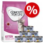 Probierset Kitten: Concept for Life 400 g & Cosma Nature 6 x 70 g