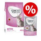 Provpack: 400 g  / 3kg Concept for Life Kitten torrfoder + 12 x 85g Concept for Life Kitten våtfoder