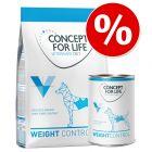 Prøvepakke: 1 kg tør- & 6 x 400 g vådfoder Concept for Life Veterinary Diet Weight Control