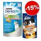 PURINA Dentalife 8 x 40 g + Felix Party Mix 3 x 60 g : 15 % de remise !