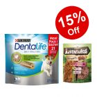 Purina Dentalife Snacks Mega Pack + 2 x 90g AdVENTuROS Nuggets - 15% Off!*