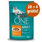 Purina One comida húmida 24 x 85 g em promoção: 20 + 4 grátis!