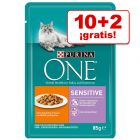 Purina ONE gatos 12 x 85 g en oferta: 10 + 2 bolsitas ¡gratis!