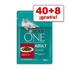 Purina ONE gatos 48 x 85 g en oferta: 40 + 8 bolsitas ¡gratis!