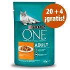Purina One 24 x 85 g comida húmeda para gatos en oferta: 20 + 4 ¡gratis!