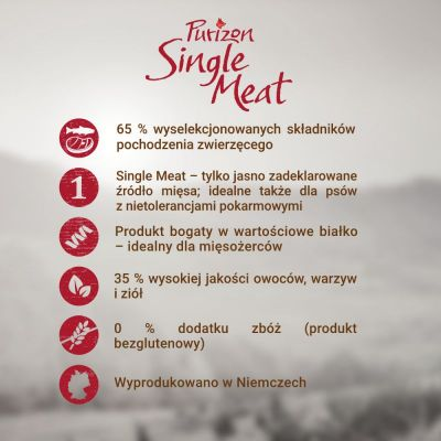 Purizon Single Meat Adult, konina z batatami, bez zbóż