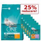 25% reducere! Purina One 3 kg hrană uscată  + 12 x 85 g Sensitive Pui & morcovi