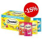 15% reducere! 4 x 30 g Dreamies Selection Box (Pui, brânză, somon, vită)