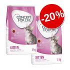 20% reducere! 2 x 3 kg Concept for Life hrană uscată pisici