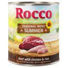 Rocco Menu de verão - vaca com frango e arroz