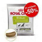 Royal Canin snack 2 x 50 g em promoção: 2ª ud. com 50 % de desconto
