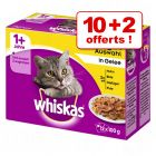 Sachets Whiskas pour chat 10 x 100 g + 2 sachets offerts !