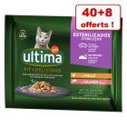 Sachets Ultima pour chat 40 x 85 g + 8 sachets offerts !