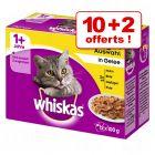 Sachets Whiskas pour chat 10 x 100 g + 2 sachets offerts !
