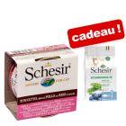 Schesir Natural, riz 6 x 85 g + Croquettes Natural Selection 350 g offertes !