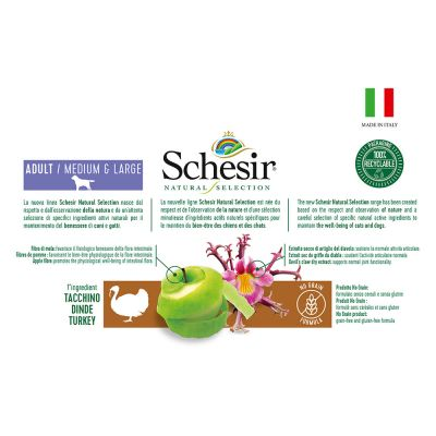 Schesir Natural Selection Adult Medium & Large con Tacchino