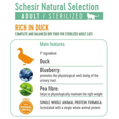 Schesir Natural Selection Adult Sterilized canard pour chat