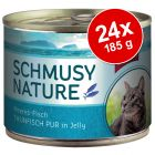 Schmusy Nature Fisk 24 x 185 g - dåse