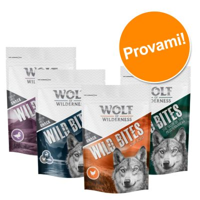 Set prova misto! Wolf of Wilderness Snack - Wild Bites 4 x 180 g