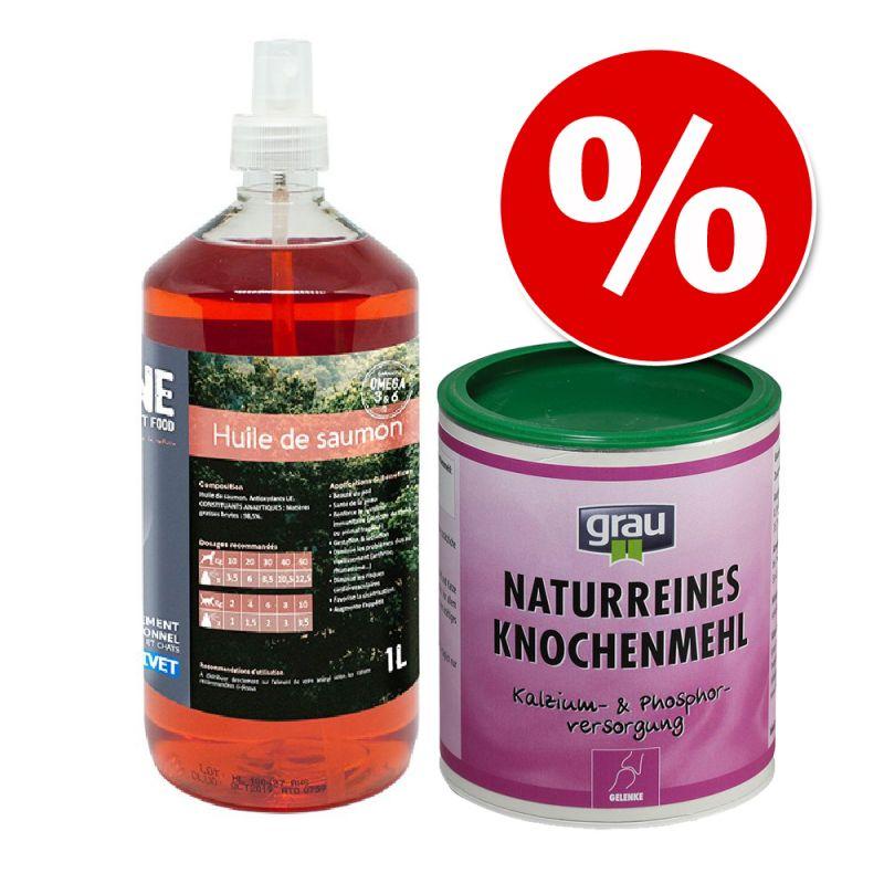 Set alimentazione casalinga: Olio di salmone Nutrivet Inne + Farina di ossa Grau