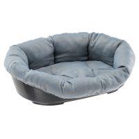 Set aus Ferplast Hundekorb Siesta Deluxe mit Überzug Sofà blau Tweed