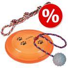 Set de jucării Trixie: sfoară, frisbee, mingiuță din cauciuc