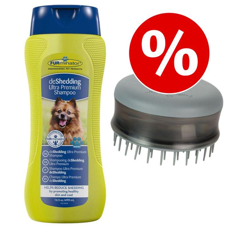 Set FURminator: deshedding Shampoo + Bathing Brush