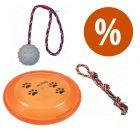 Set giochi Trixie: doppia corda, frisbee e palla in gomma