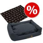 Set: Hundebett Sleepy Time grey mit Kissen + Vetbed® Isobed SL Hundedecke Paw