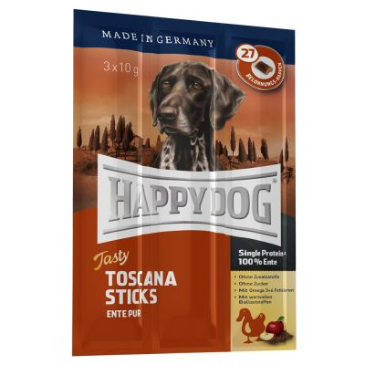 Set prova  misto Happy Dog Toscana secco + umido + snack