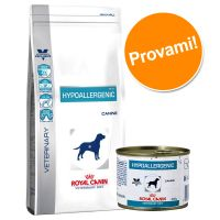 Set prova misto! Royal Canin Hypoallergenic Veterinary Diet secco + umido